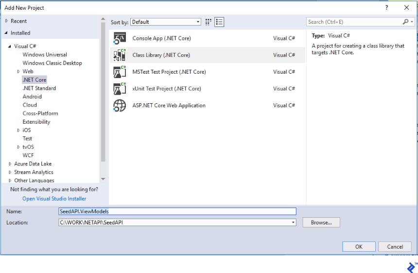 "add a ""Class Library (.NET Core)"""