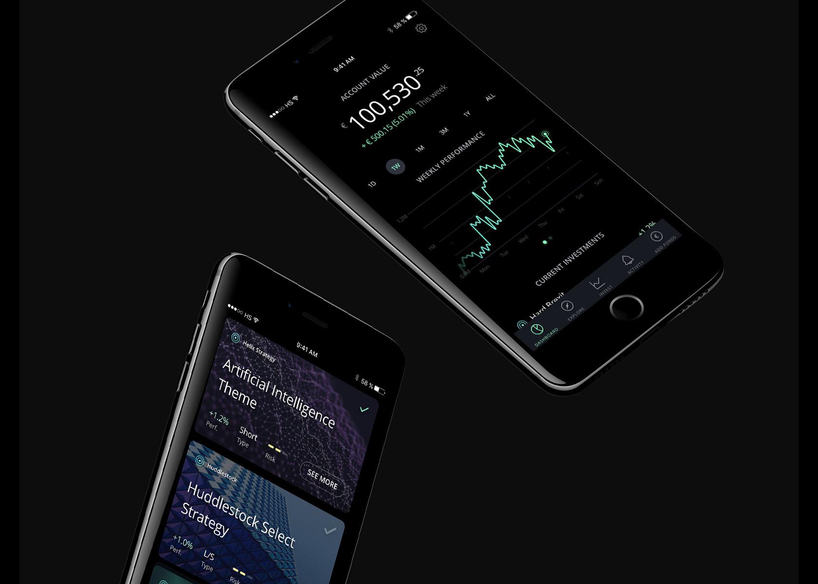 Toptal designer showcase Huddlestock fintech mobile app