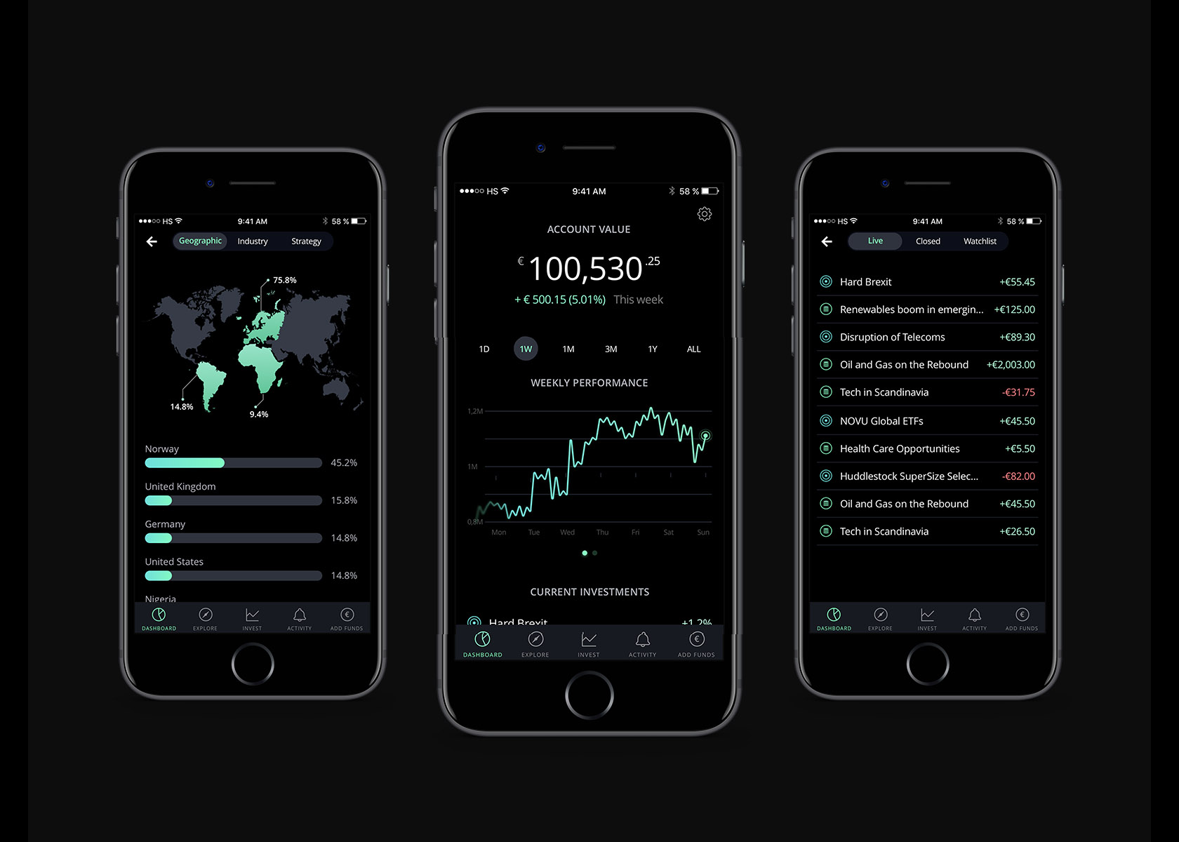 Toptal designer showcase Huddlestock mobile app