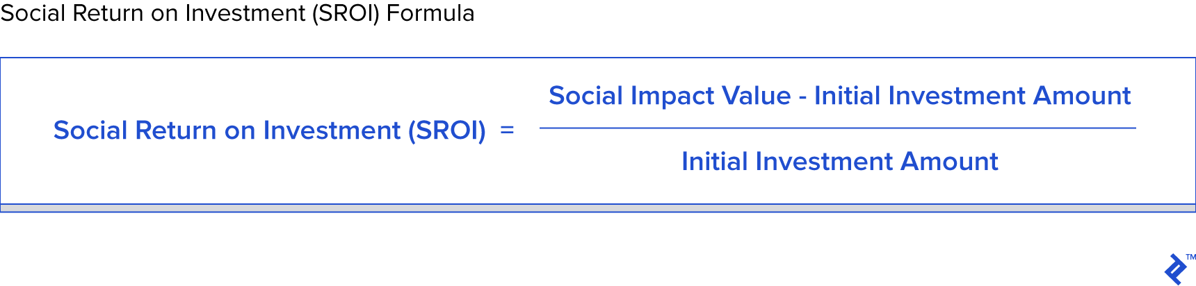 Social return on investment SROI formula
