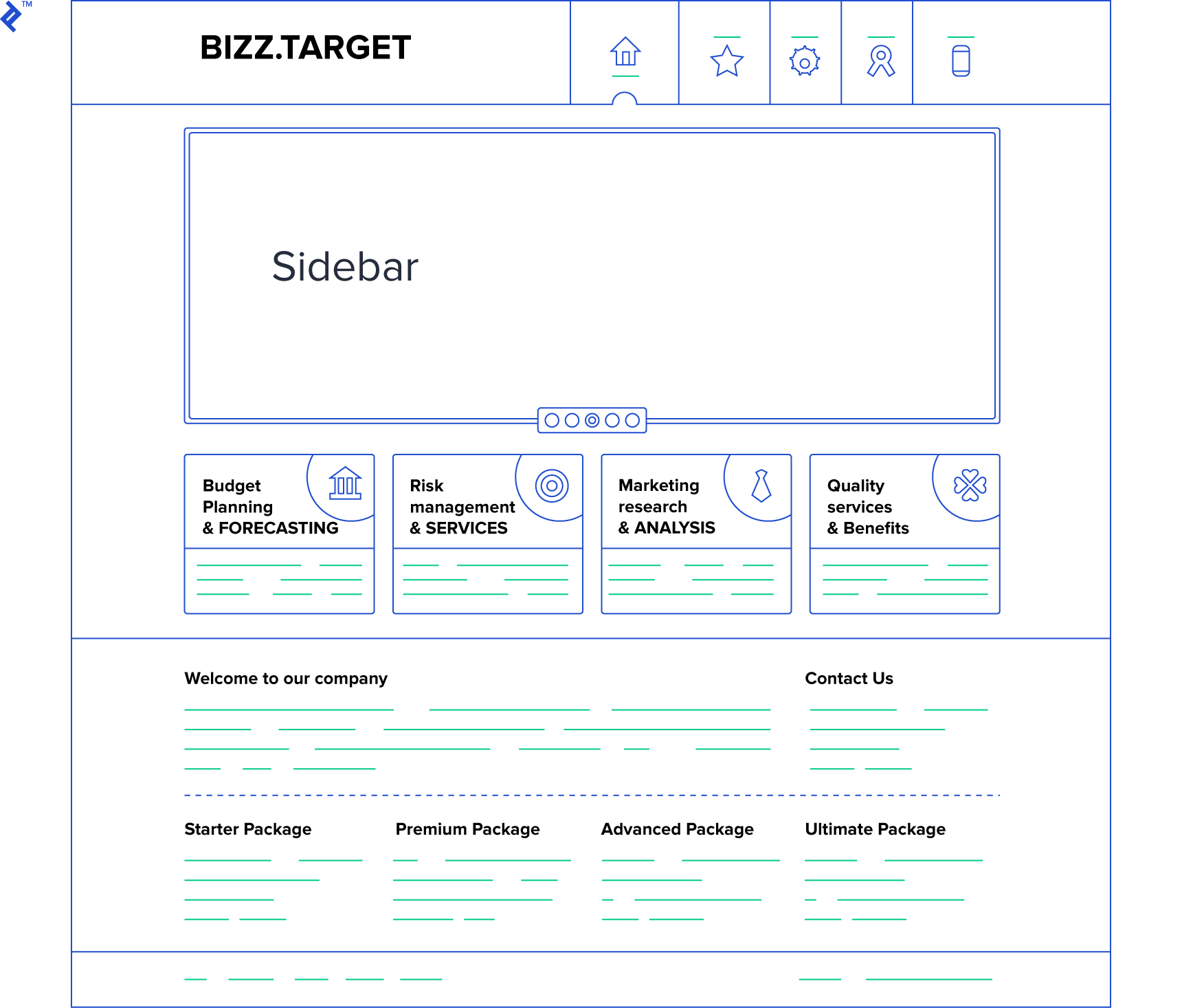 An example web page that can be organized into header, main, and footer layout styles using SMACSS