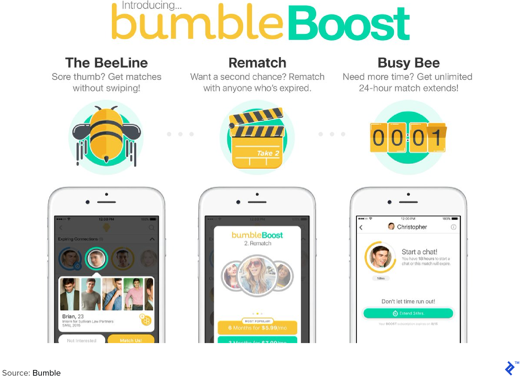 Bumble boost screen shots