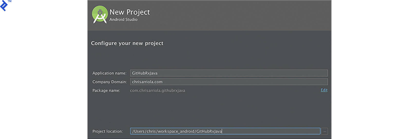 Screen shot: Create a new Android project