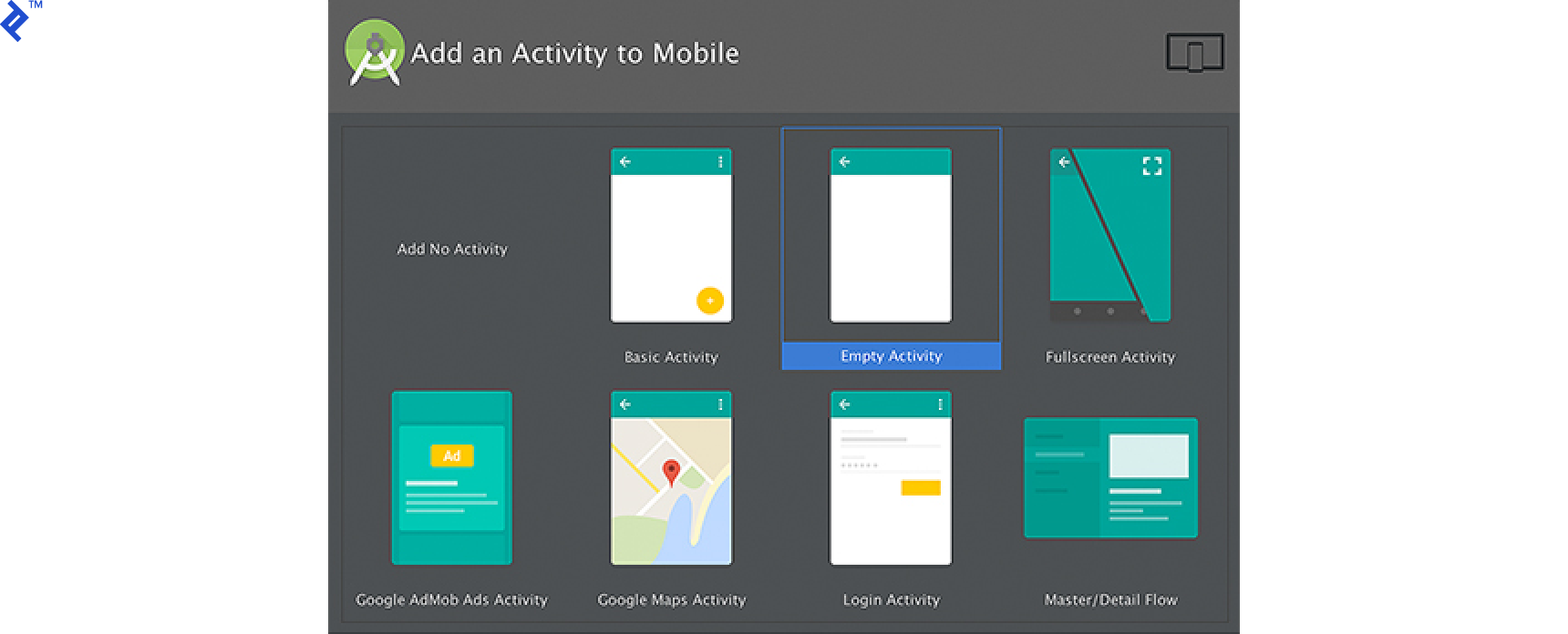 Screen shot: Add an Activity to Mobile screen