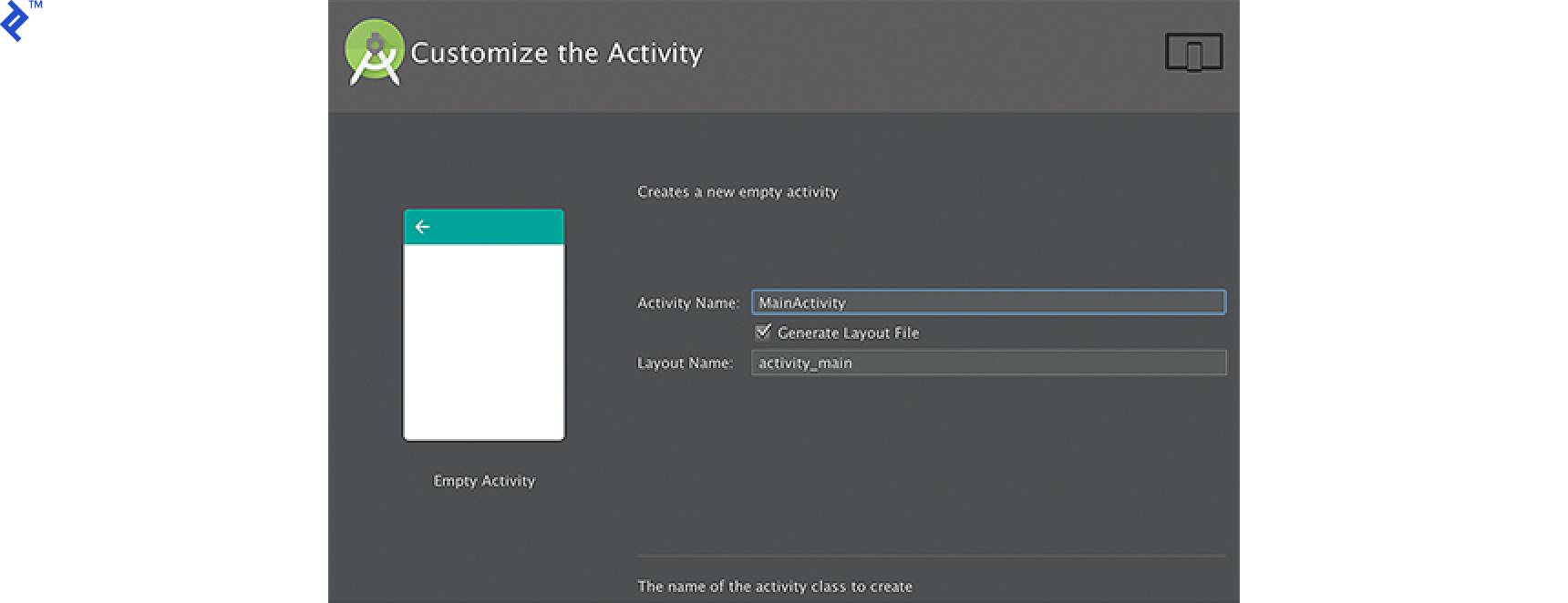 Screen shot: Customize the Activity screen
