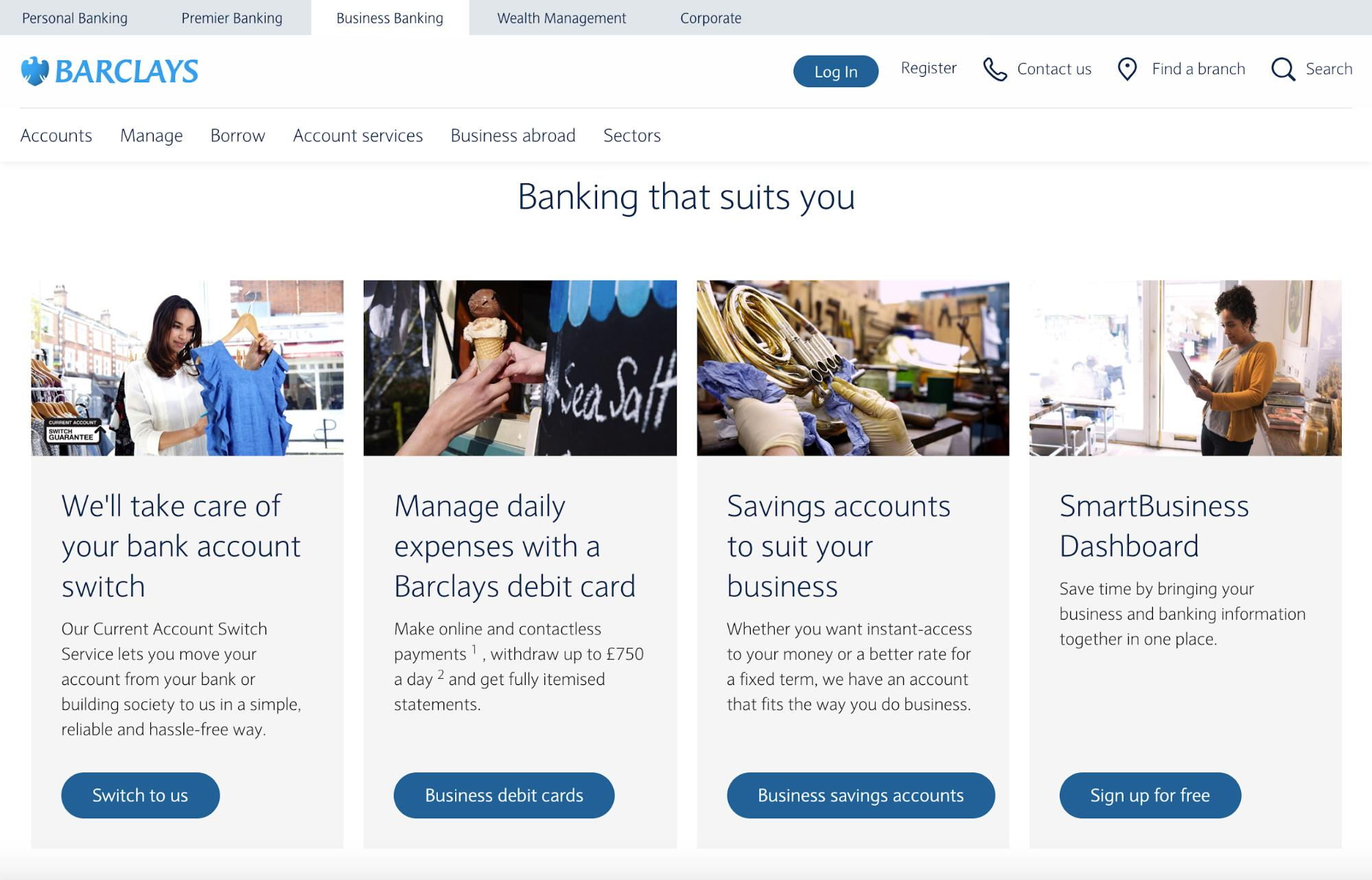 Barclays uses a very specific website color scheme.