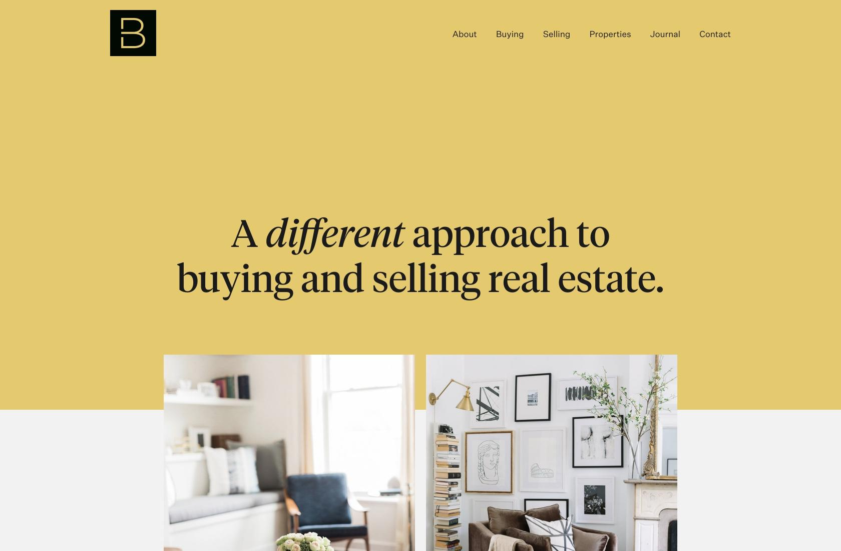 Another unexpected website color scheme on this real estate site