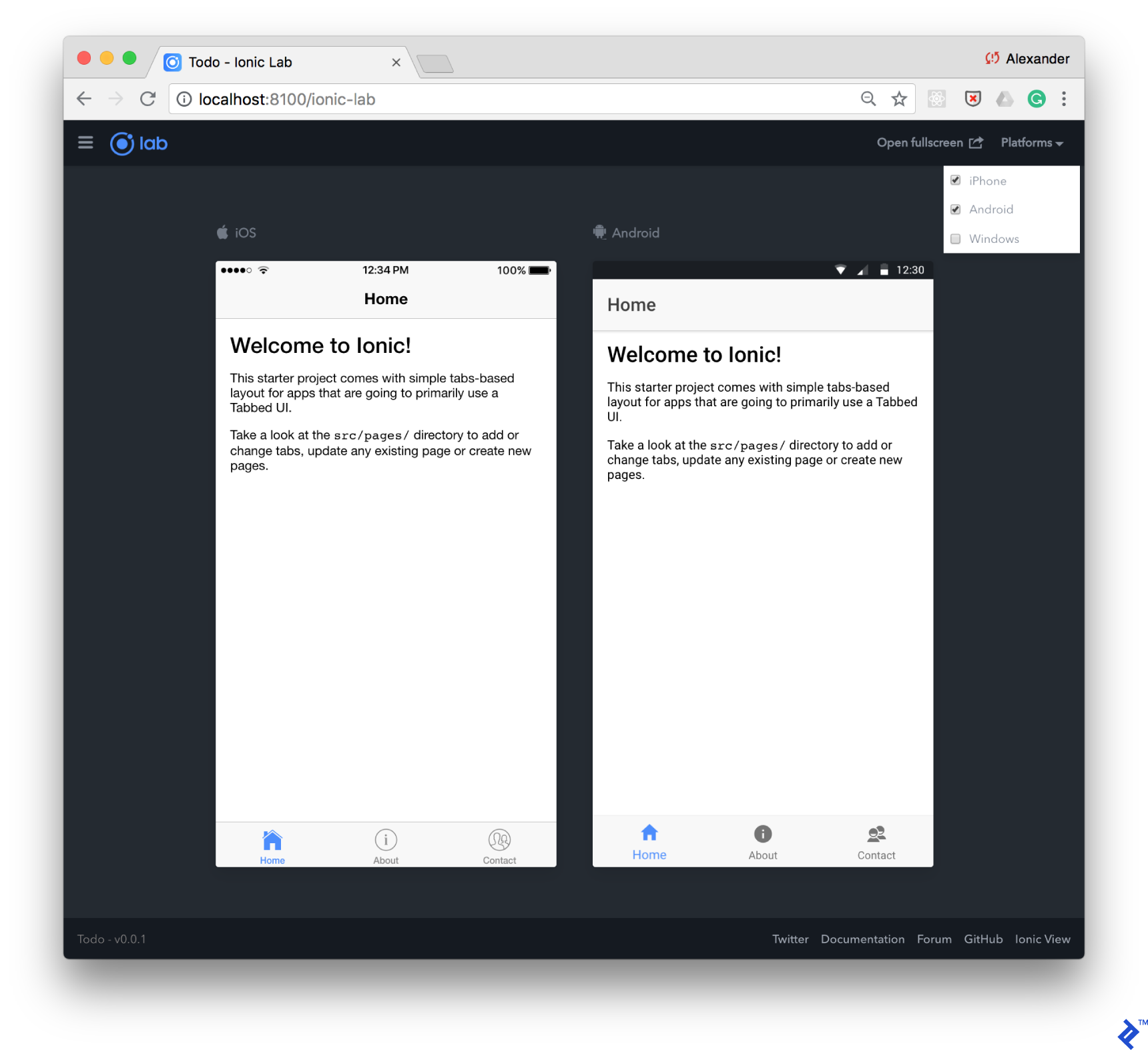 The debugging UI of Ionic Lab, showing iOS and Android simulations