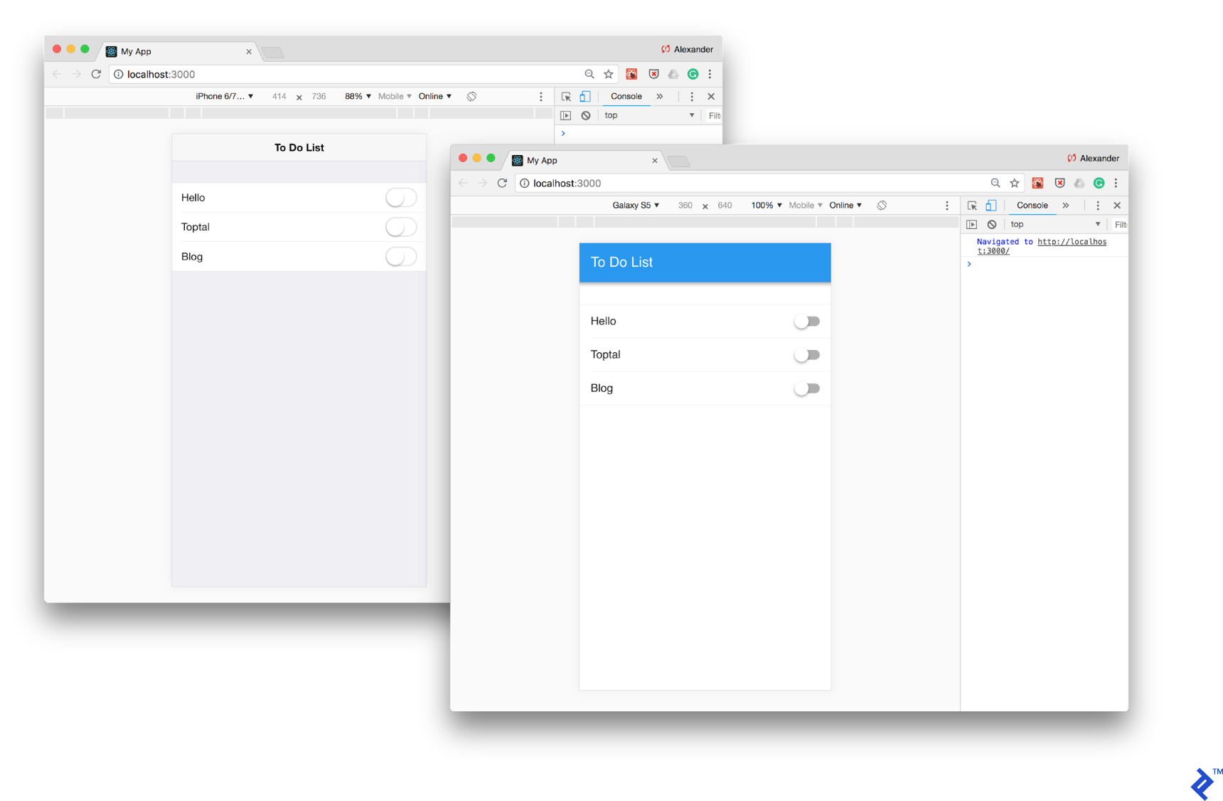 Our static To Do List layout test running in Framework7, simulated by Chrome DevTools in Android and iOS modes