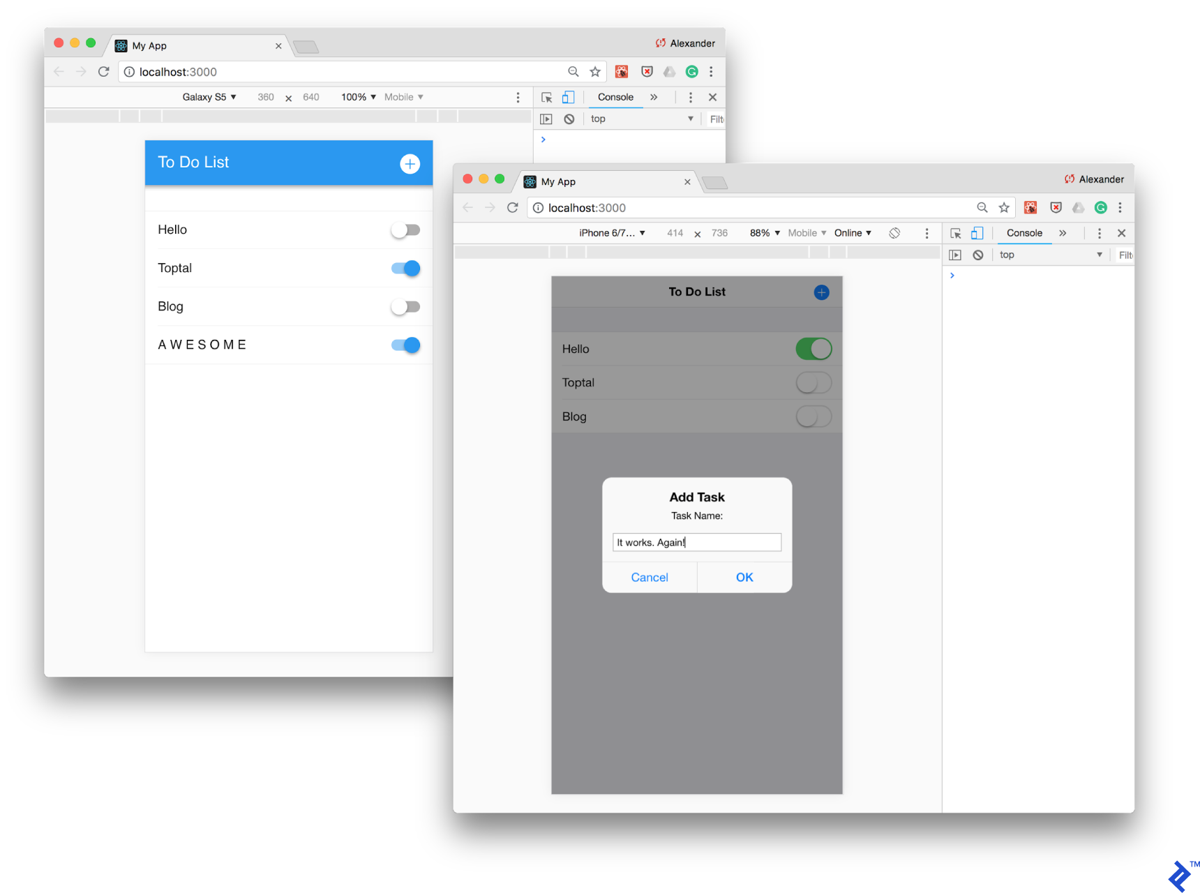 Our To Do application running via Framework7, simulated by Chrome DevTools in Android and iOS modes