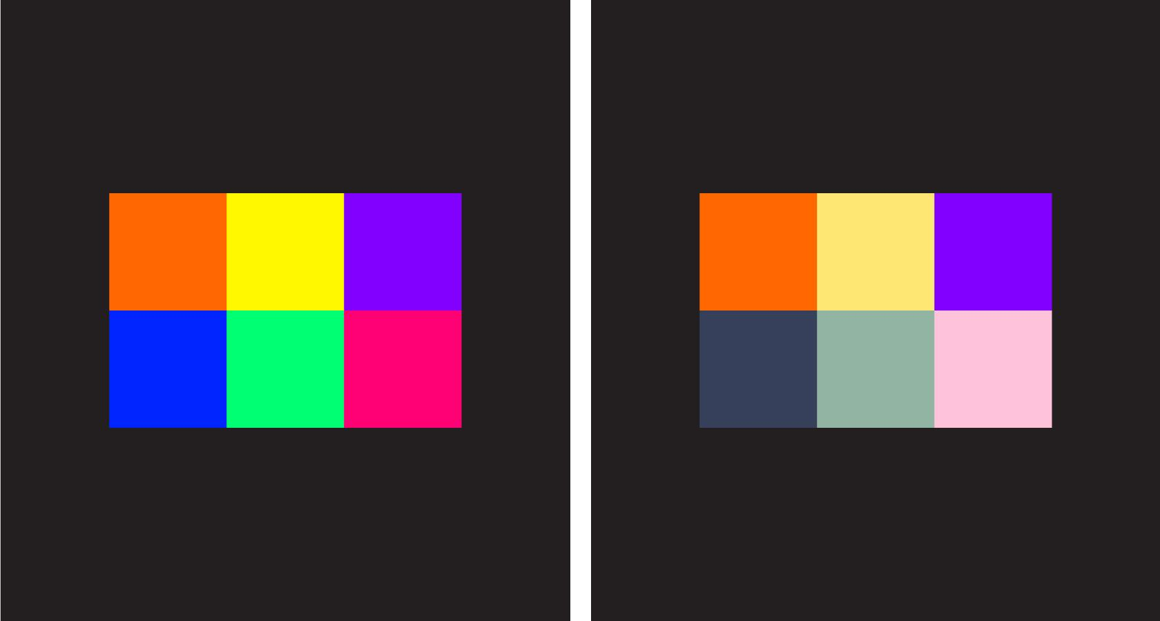 Beautiful color palettes saturation and brightness