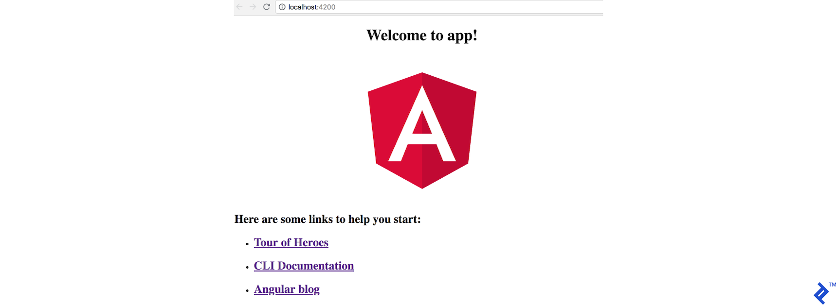 An Angular 6 app immediately after scaffolding