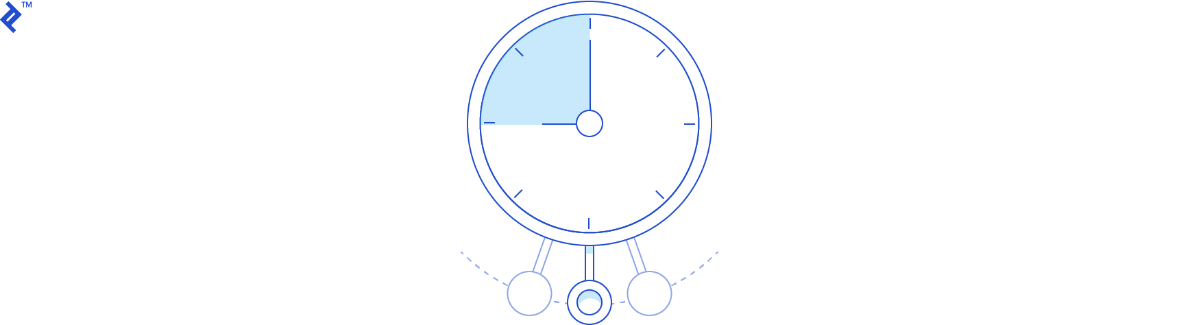"Abstract diagram of a compass pointing towards the direction of ""business goals"""