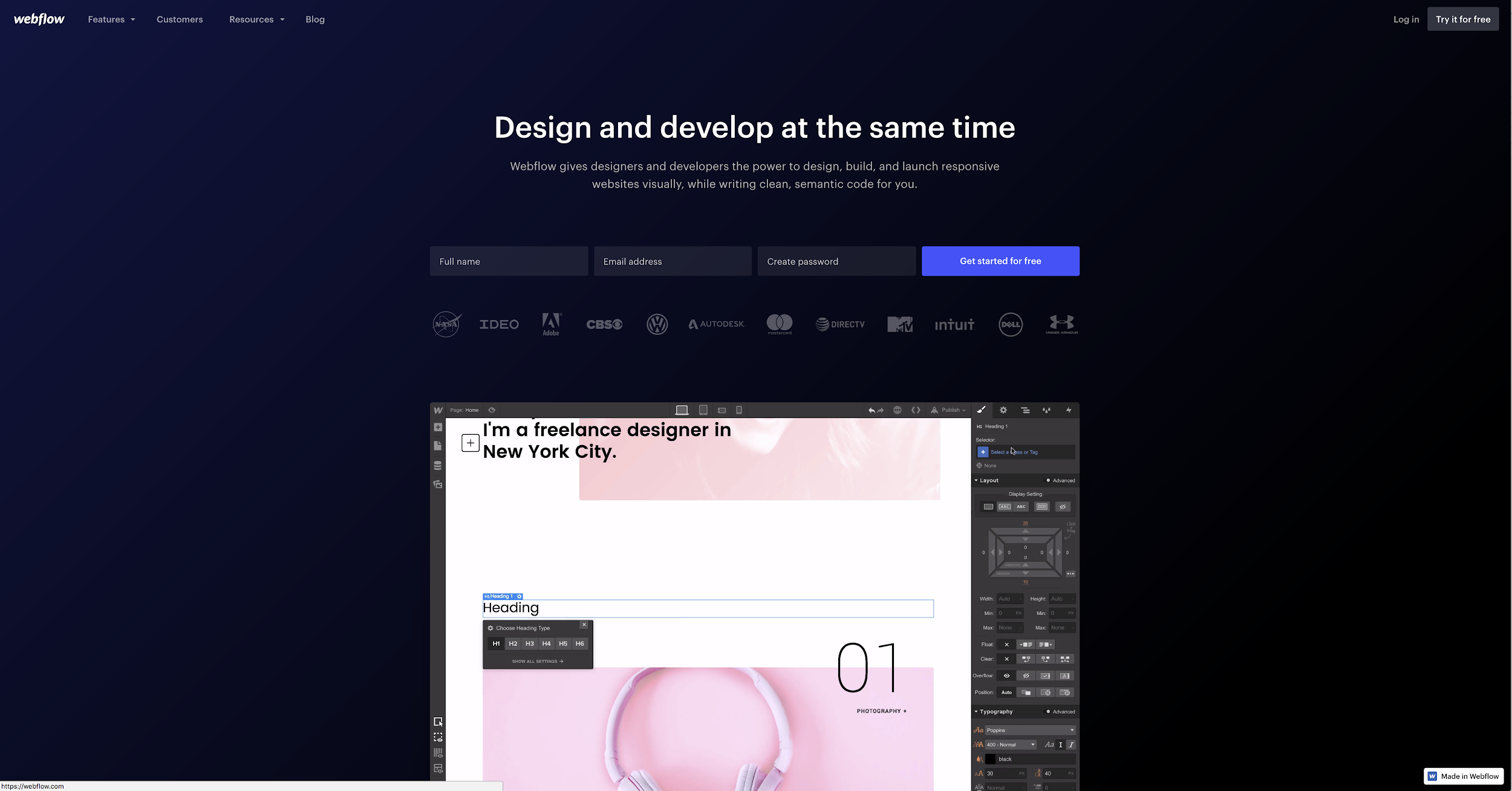Webflow responsive minimum viable prototype development