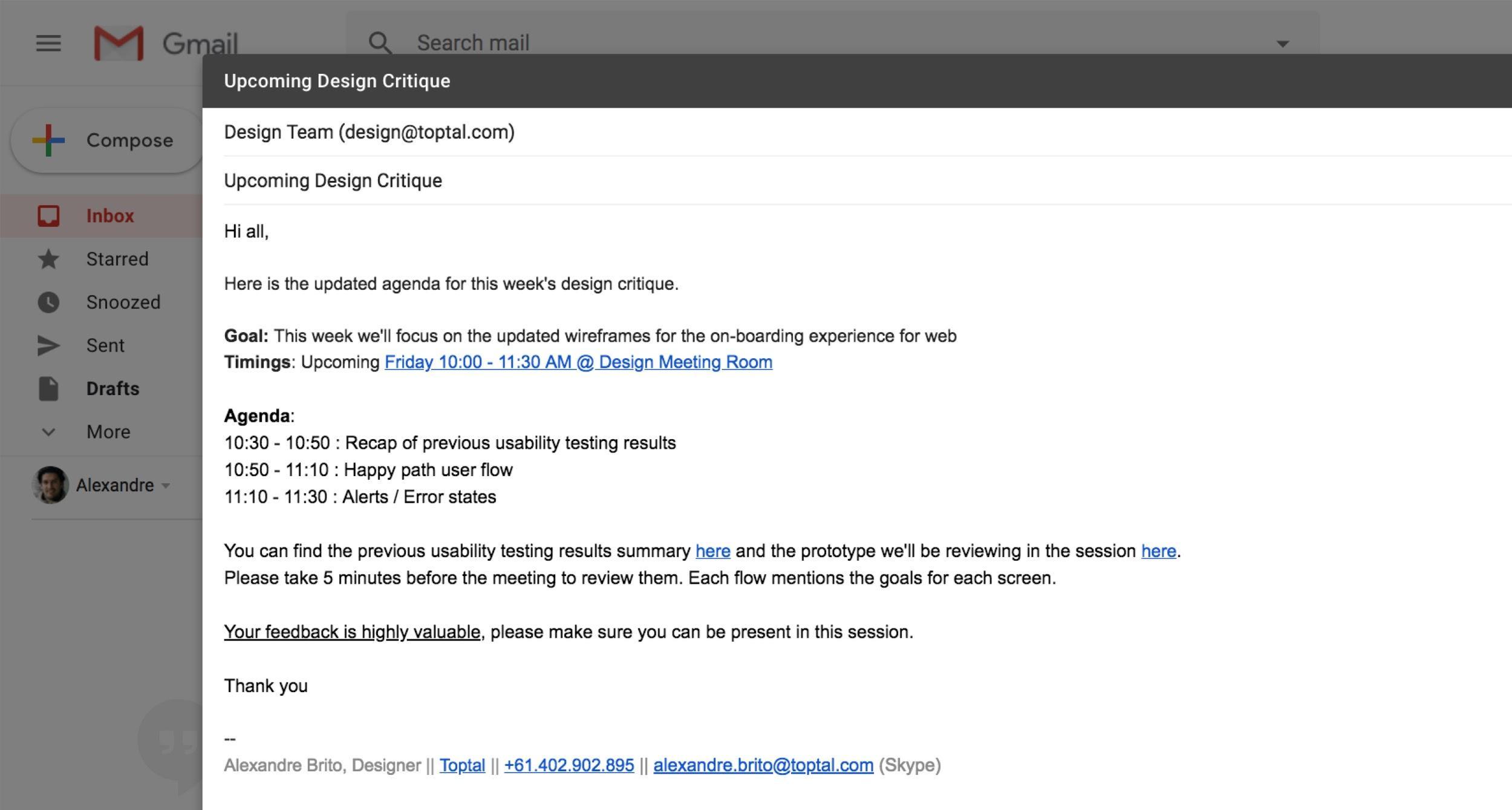Design critique invitation email