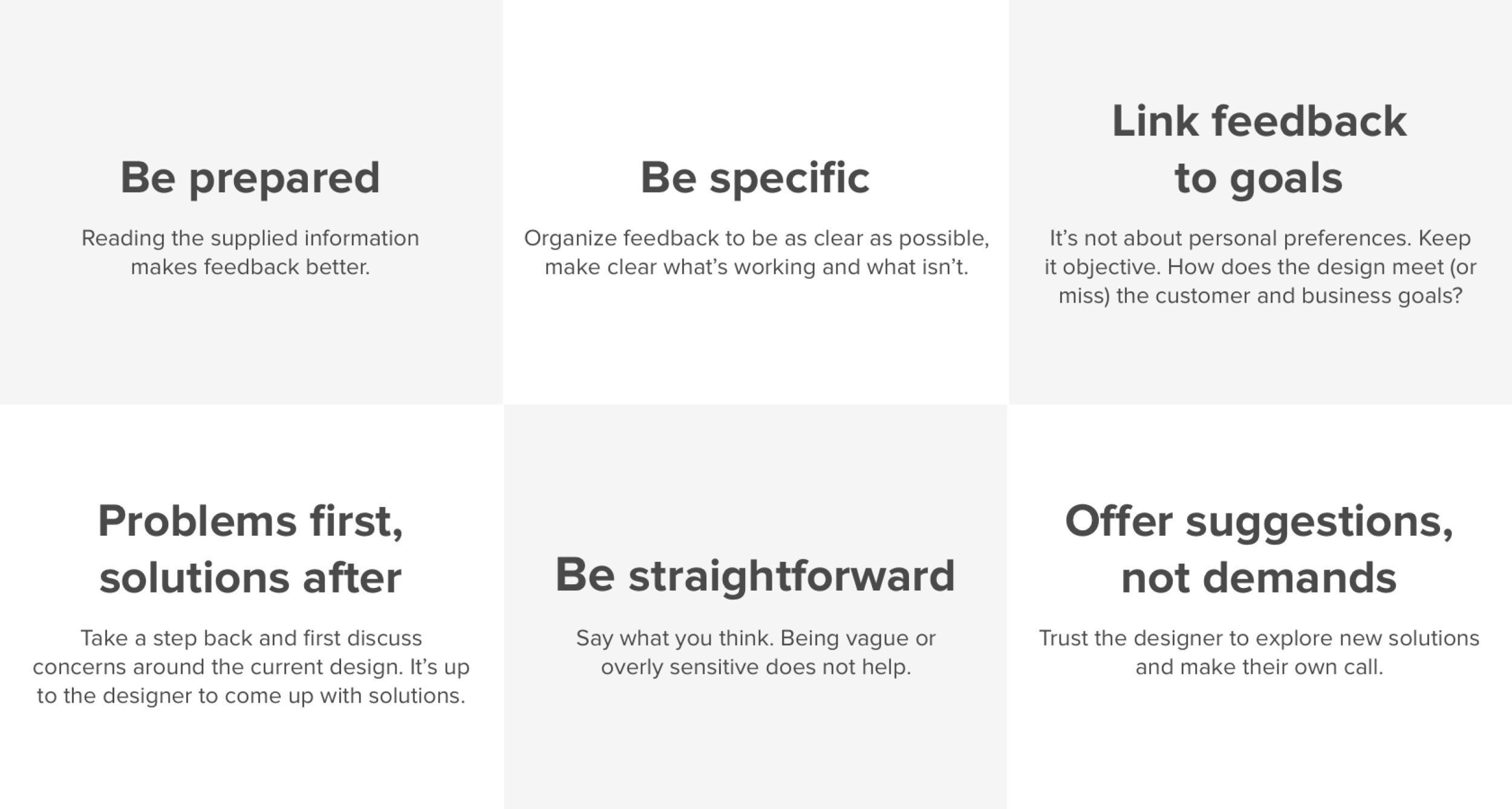 Design critique format rules