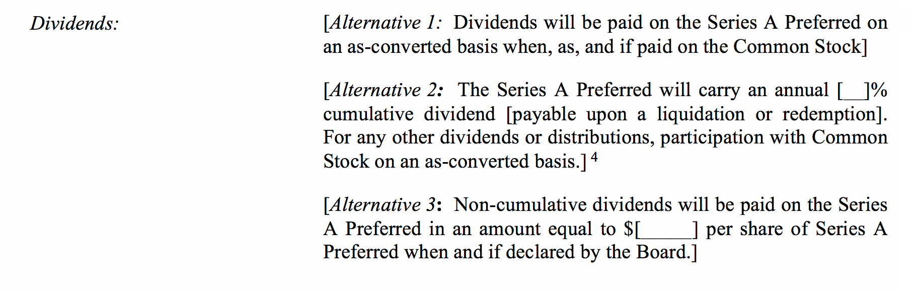term sheet template dividend clauses
