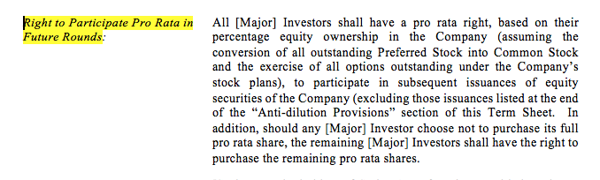 term sheet wording for pro-rata and super pro-rata rights