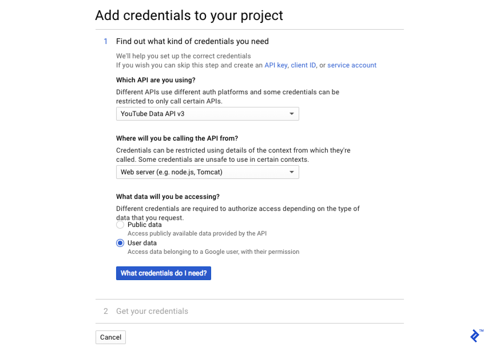 "Click on the ""Create credentials"" blue button"