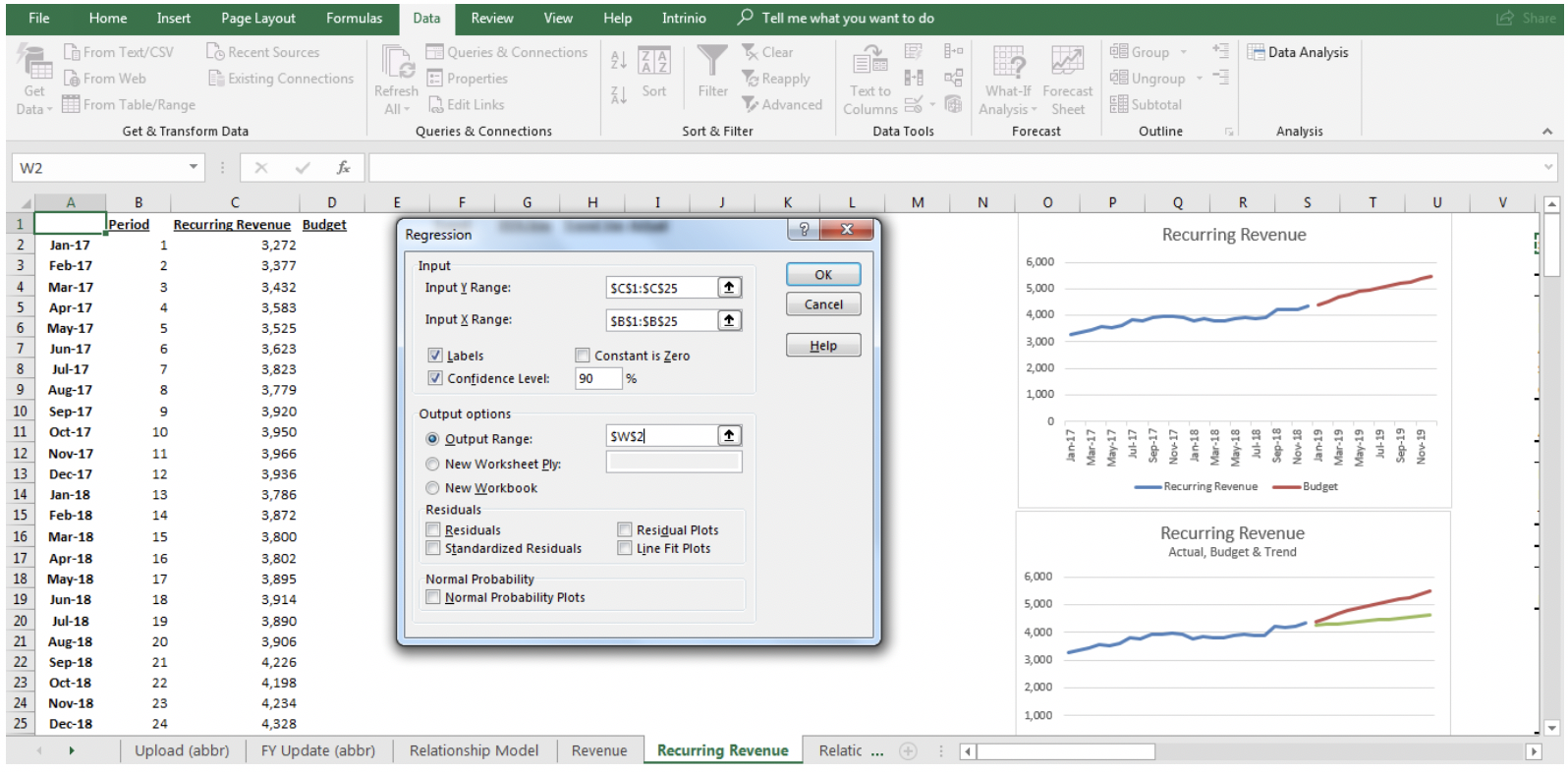regression in excel