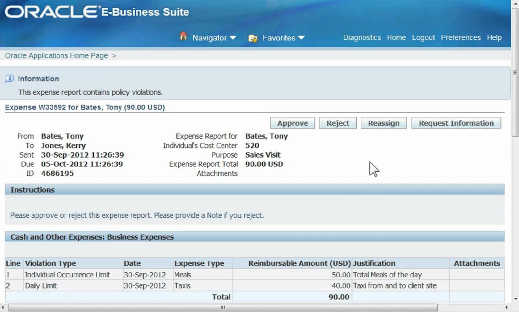 Oracle expenses B2B UX
