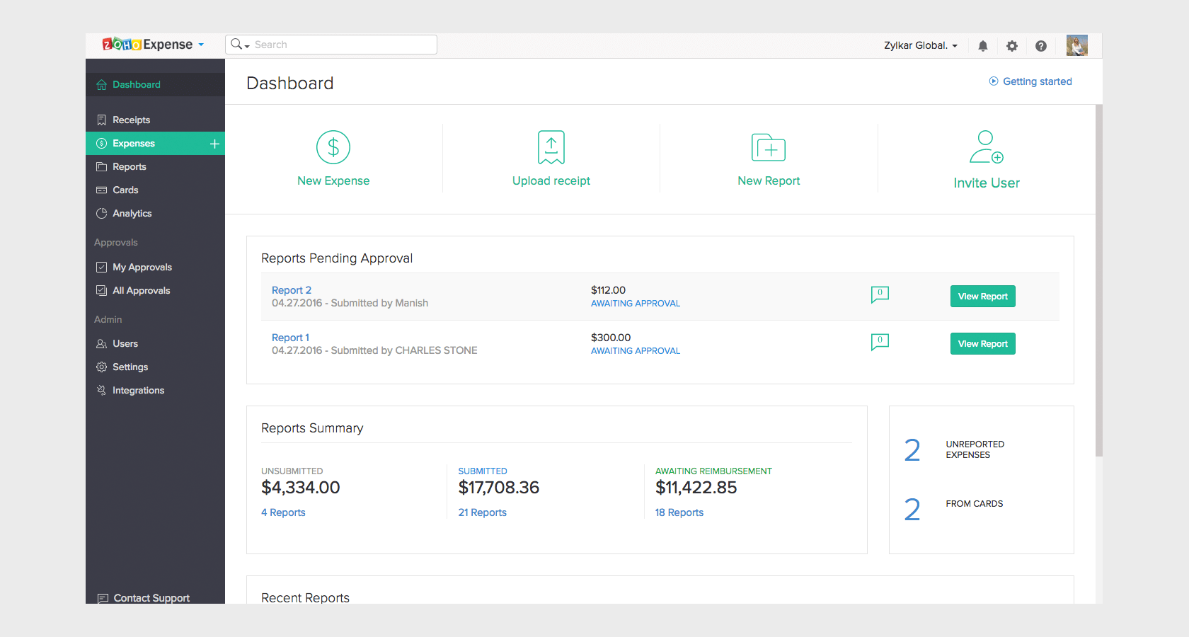 Zoho expense report software B2B UX