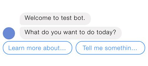 FB Messenger quick reply chatbot ui