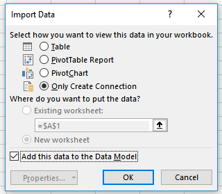 Screenshot of the Import Data options window