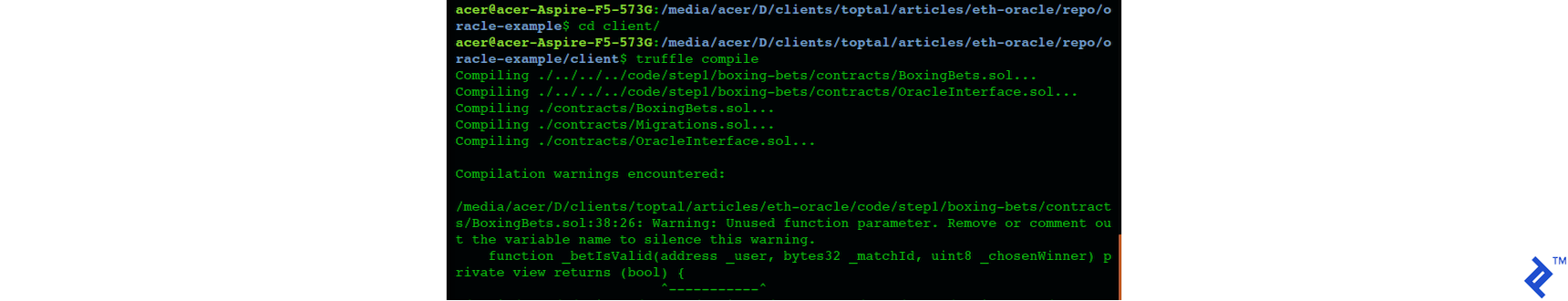 Screenshot of compiling and migrating the contract