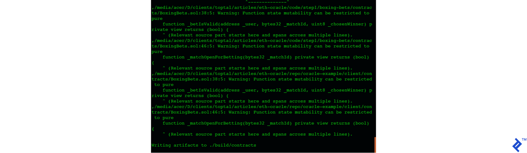 Second screenshot of compiling and migrating the contract