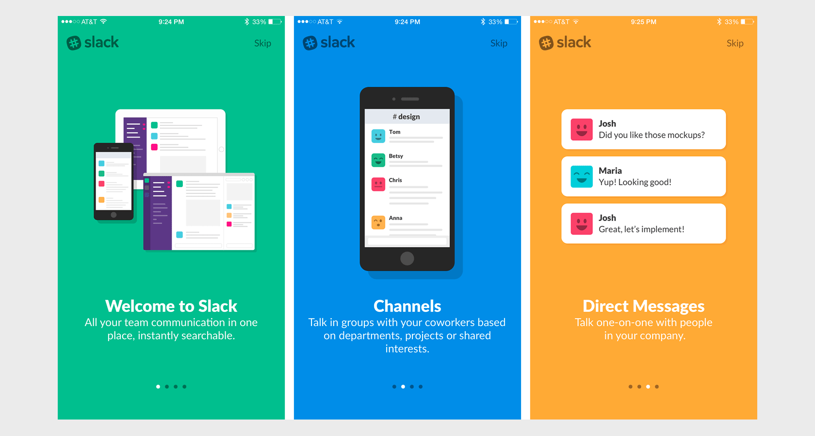 Slack uses introductory UX onboarding best practices.