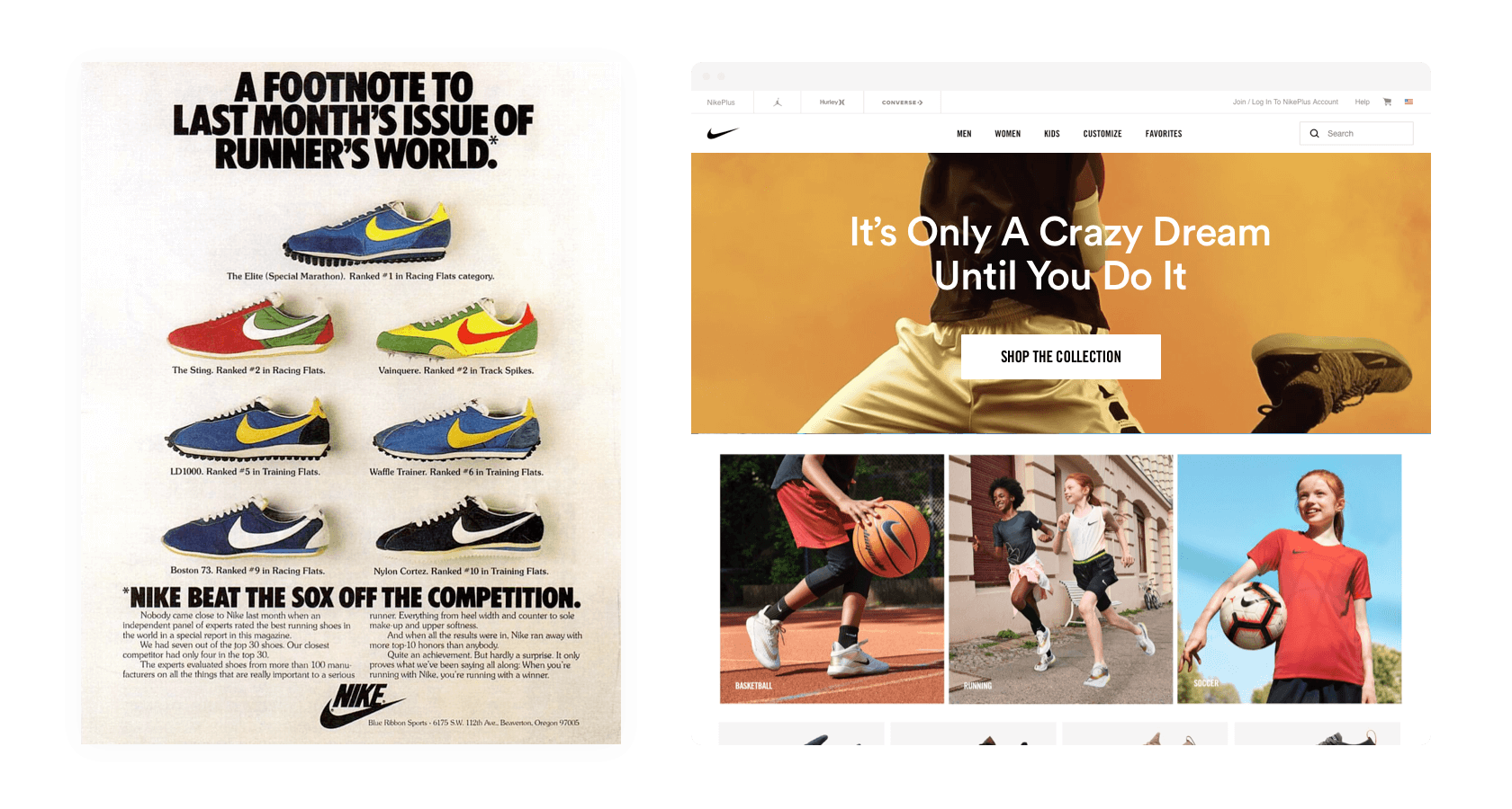 Strong visual hierarchy has persisted through decades of Nike's branding.