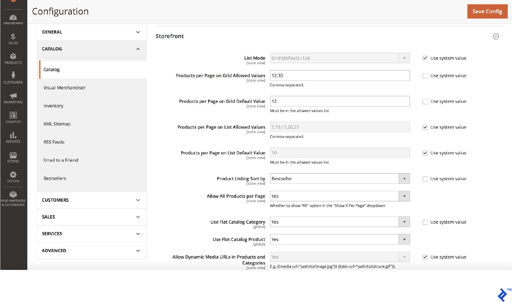 Magento flat tables screenshot