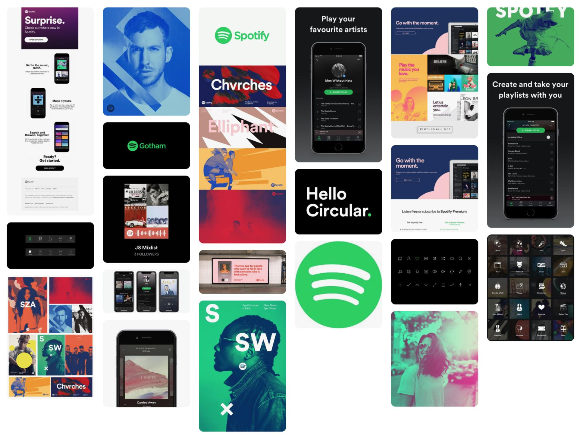 Spotify brand designs - the best UX design portfolios show work based on solid UX design principles.