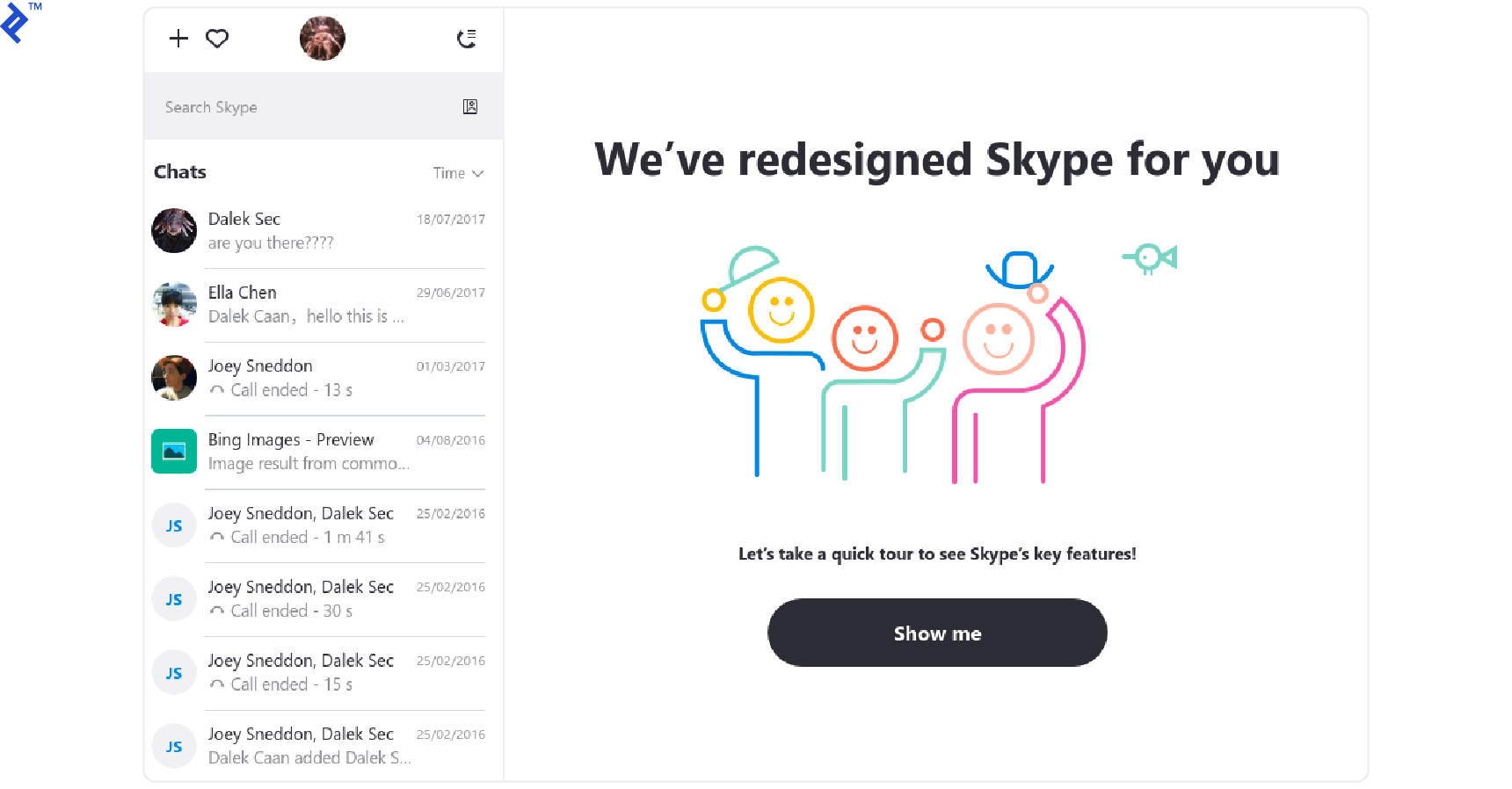 UX agile best practices: Illustration of poorly executed skype redesign.