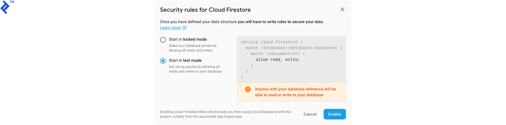 "The ""Security rules for Cloud Firestore"" dialog, with ""Start in test mode"" selected instead of ""Start in locked mode."""