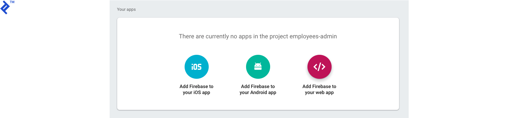 Empty apps listing for the new Firebase project.