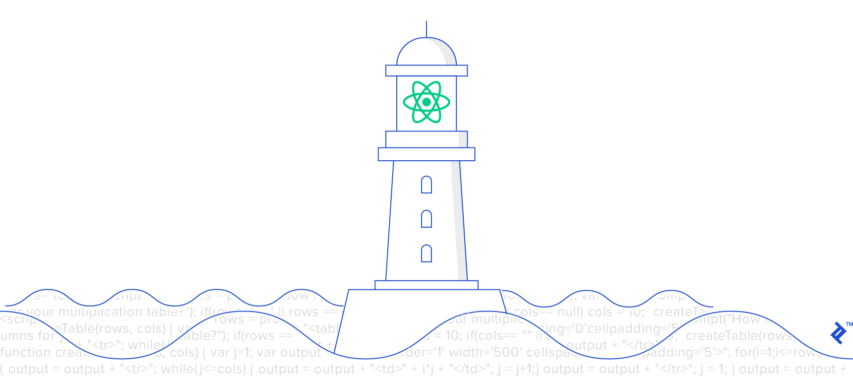 Illustration of React as a lighthouse clearly displayed over a sea of JavaScript code