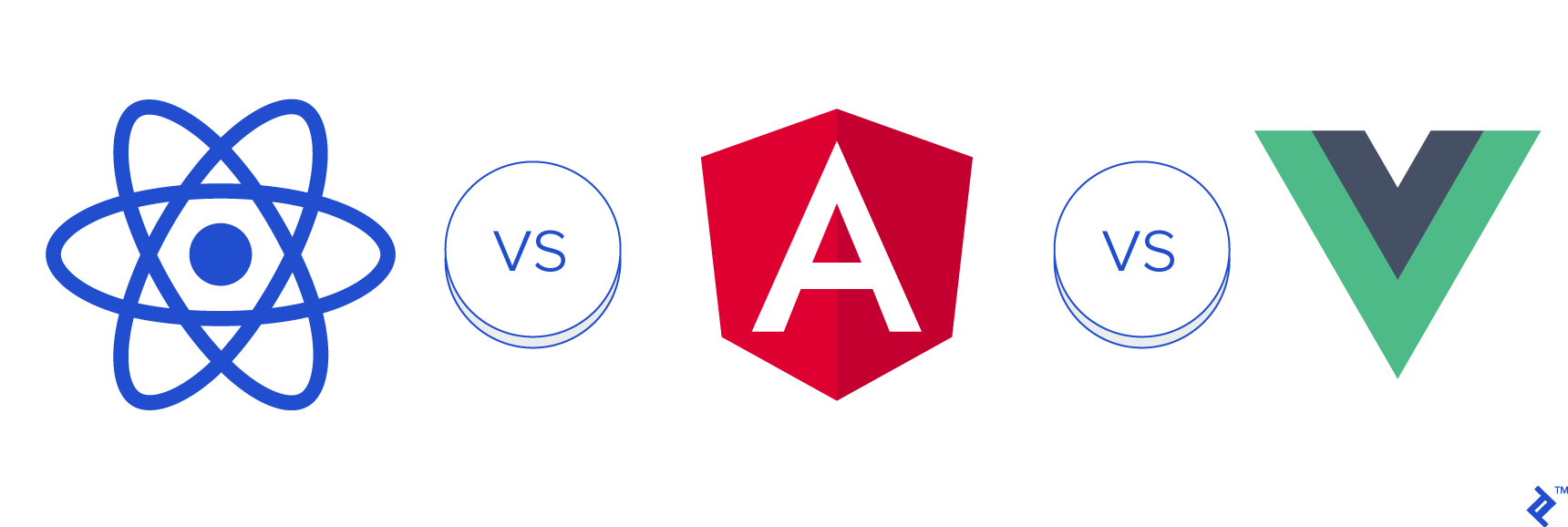 Illustration of React vs. Angular vs. Vue.js