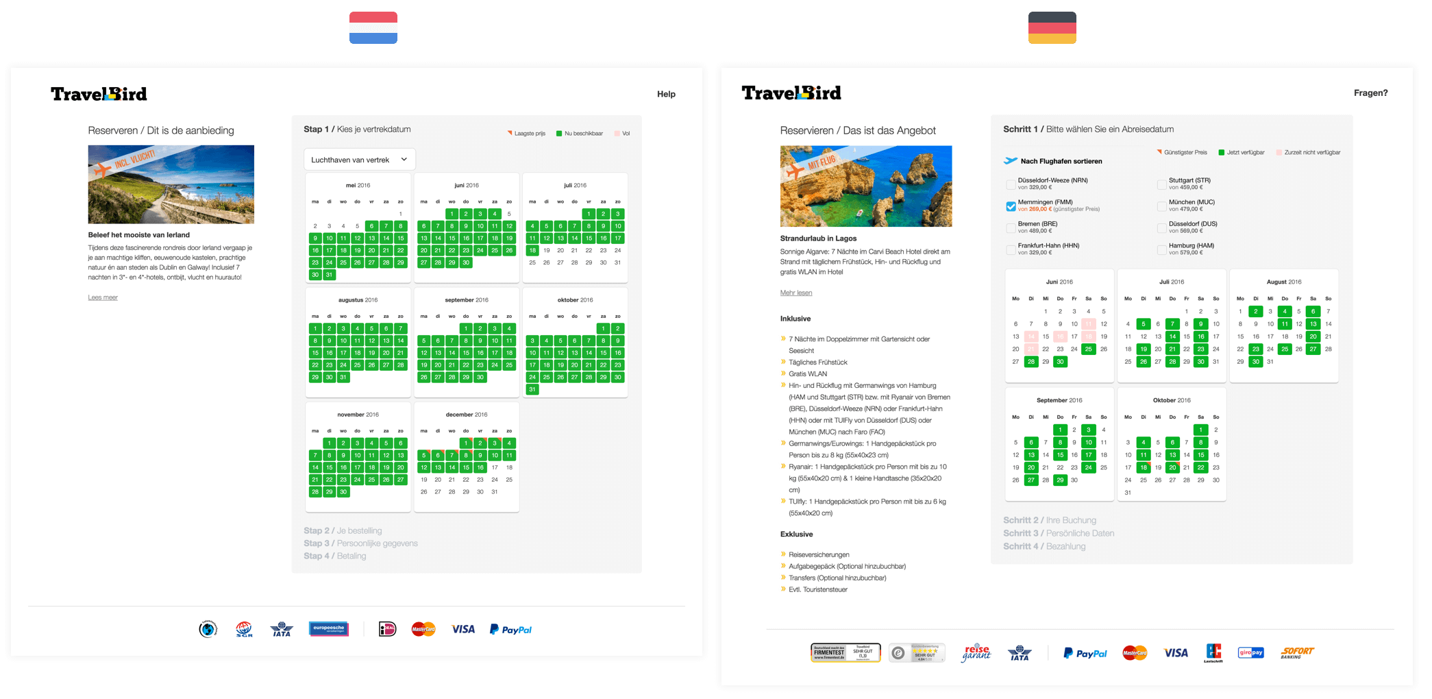 Cross-cultural user experience design of TravelBird Netherlands and Germany.