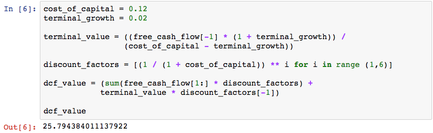 dcf output from python discounted cash flow calculation