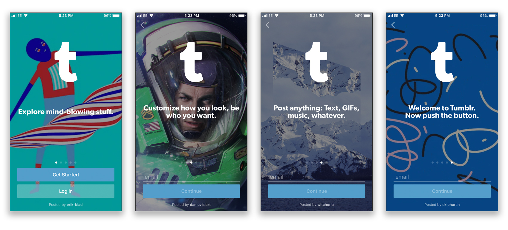 Tumblr onboarding UX mobile UX trends 2018