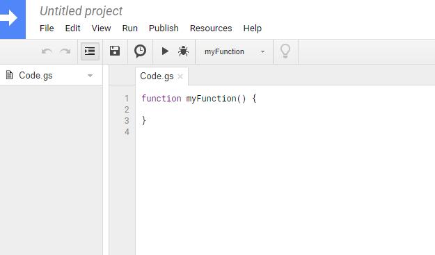 Screenshot of Google's script editor