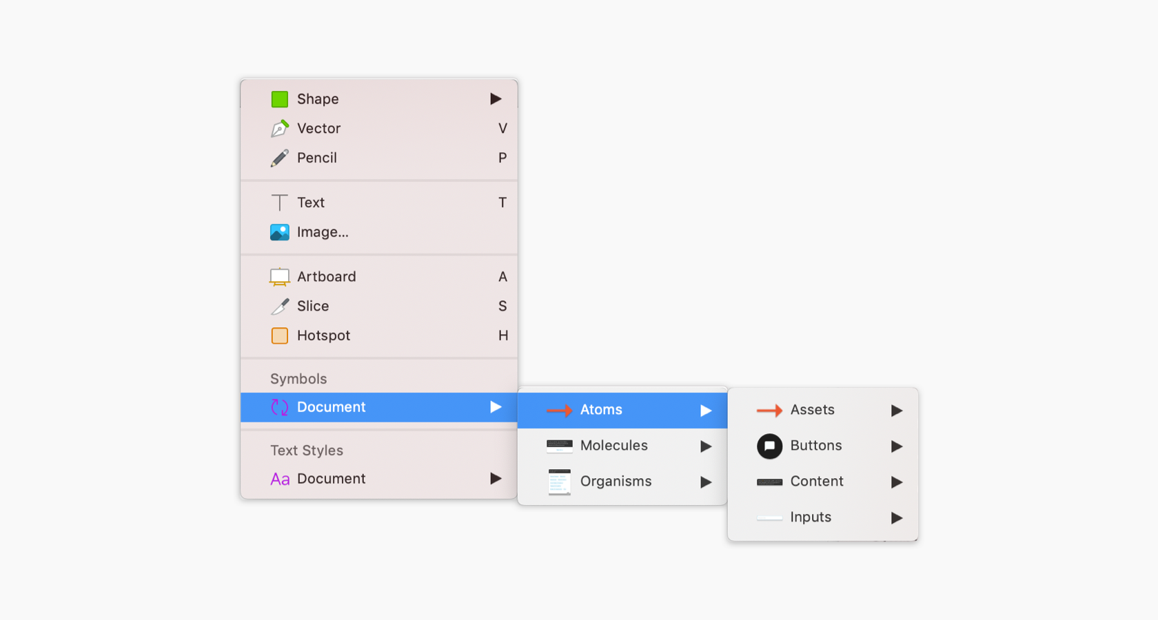 The insert panel menu in Sketch for Atomic Design instantiation.