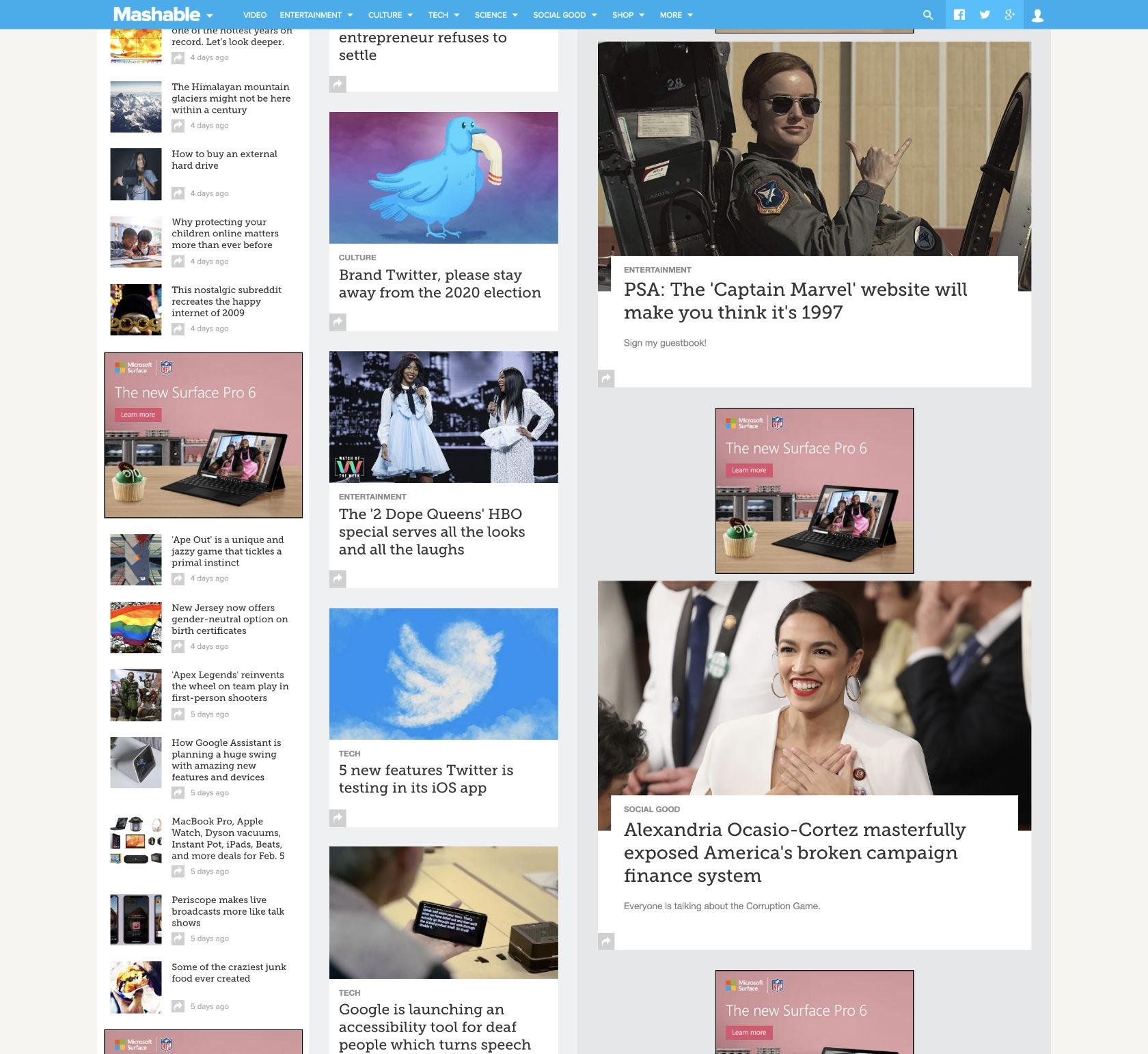 Long scroll is popular on news sites, which load more content as the user scrolls.