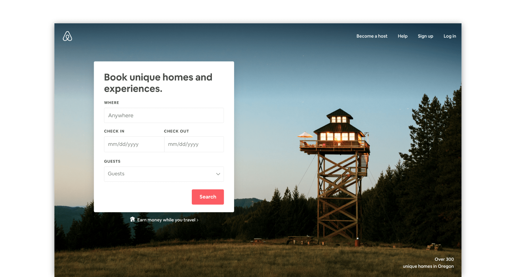 Airbnb's homepage uses UI design patterns successfully