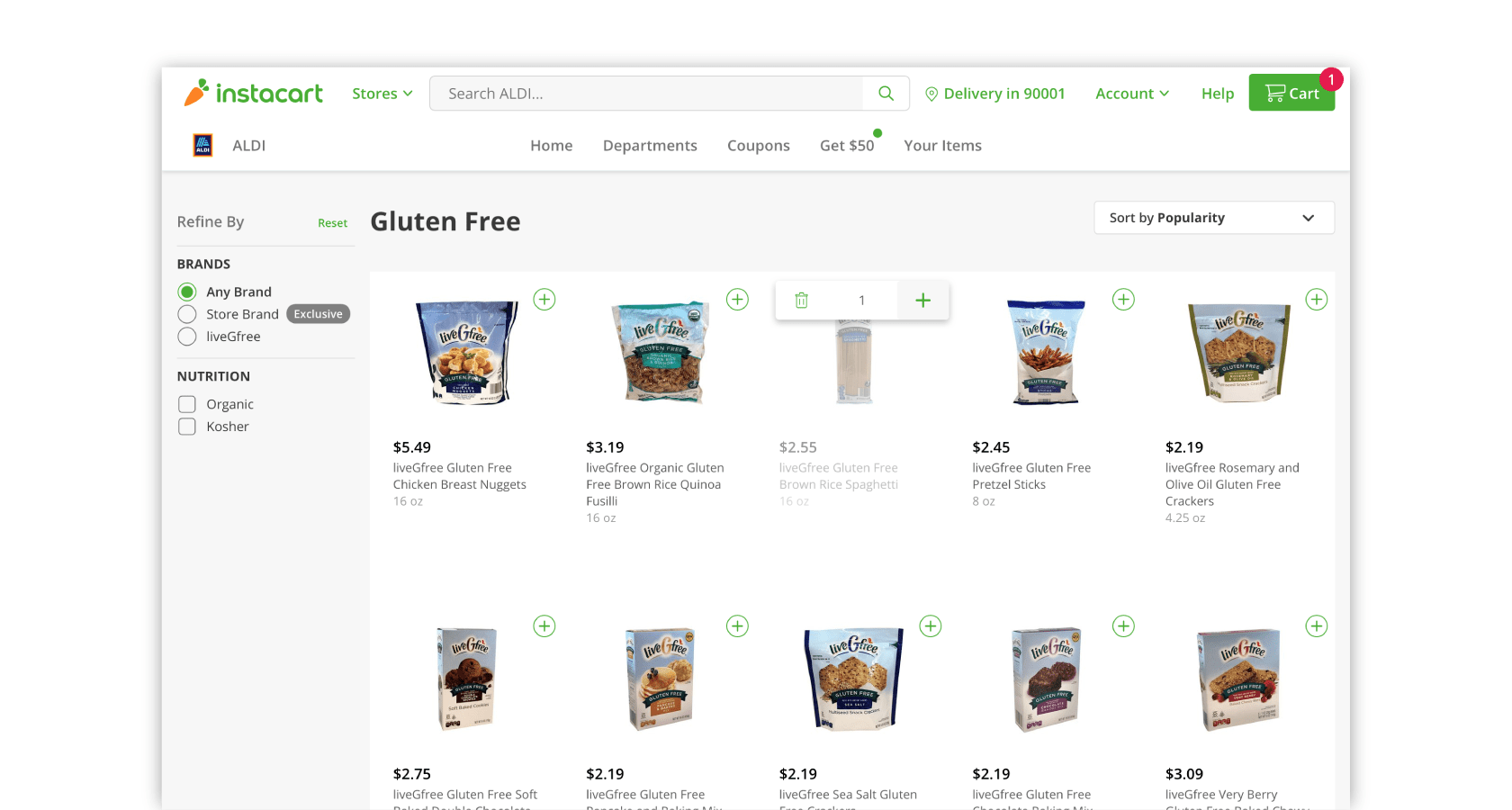 Instacart's website layout design based on UI design best practices