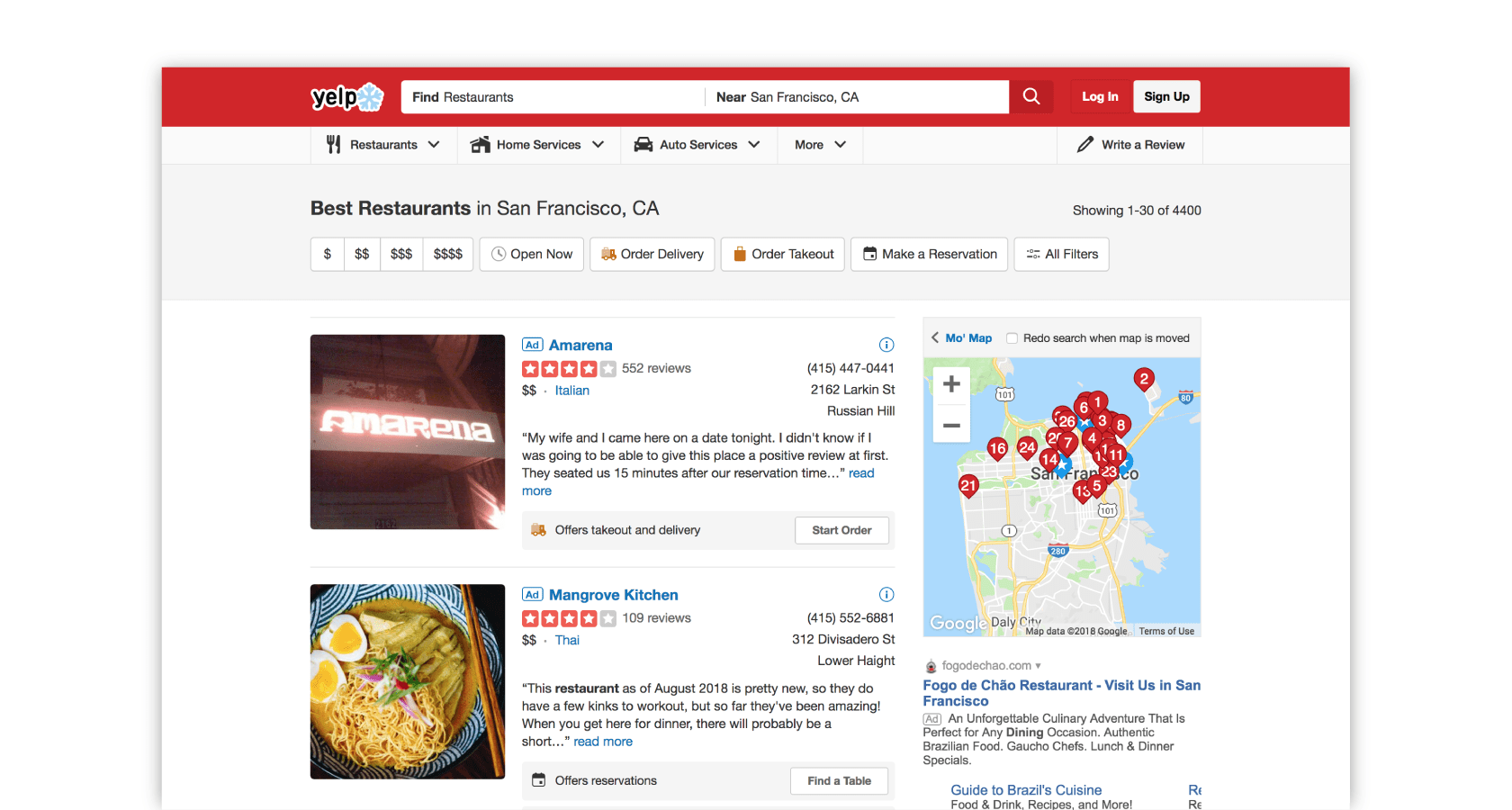 Yelp's scanning pattern based on user research