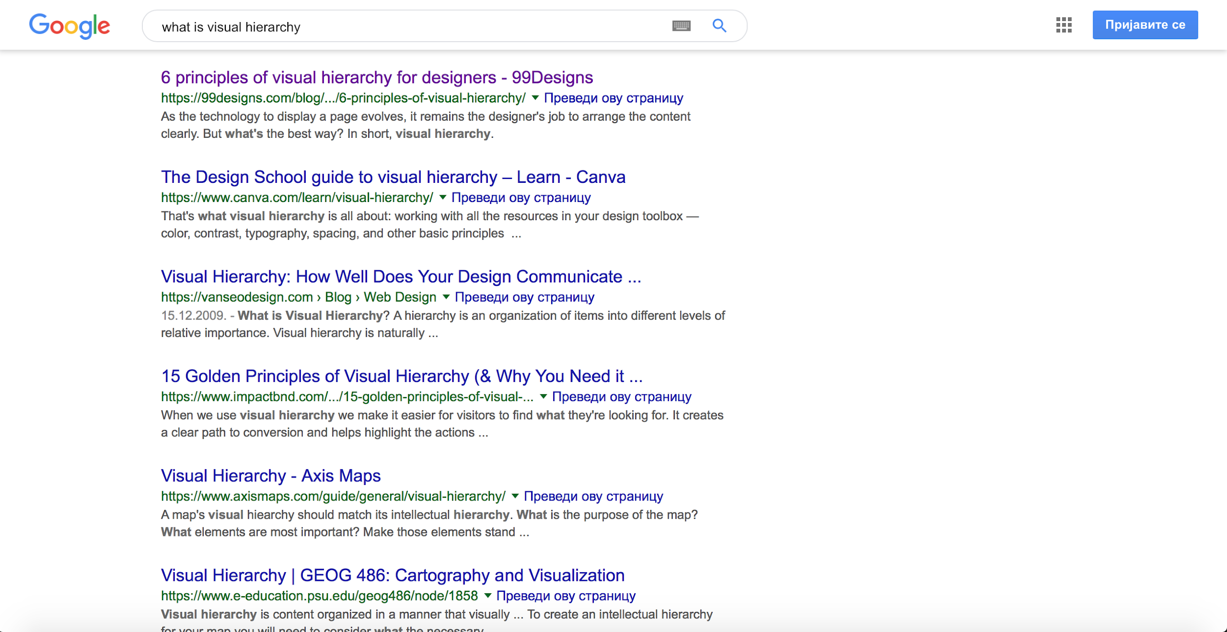 Google's UI design patterns leverage visual hierarchy principles
