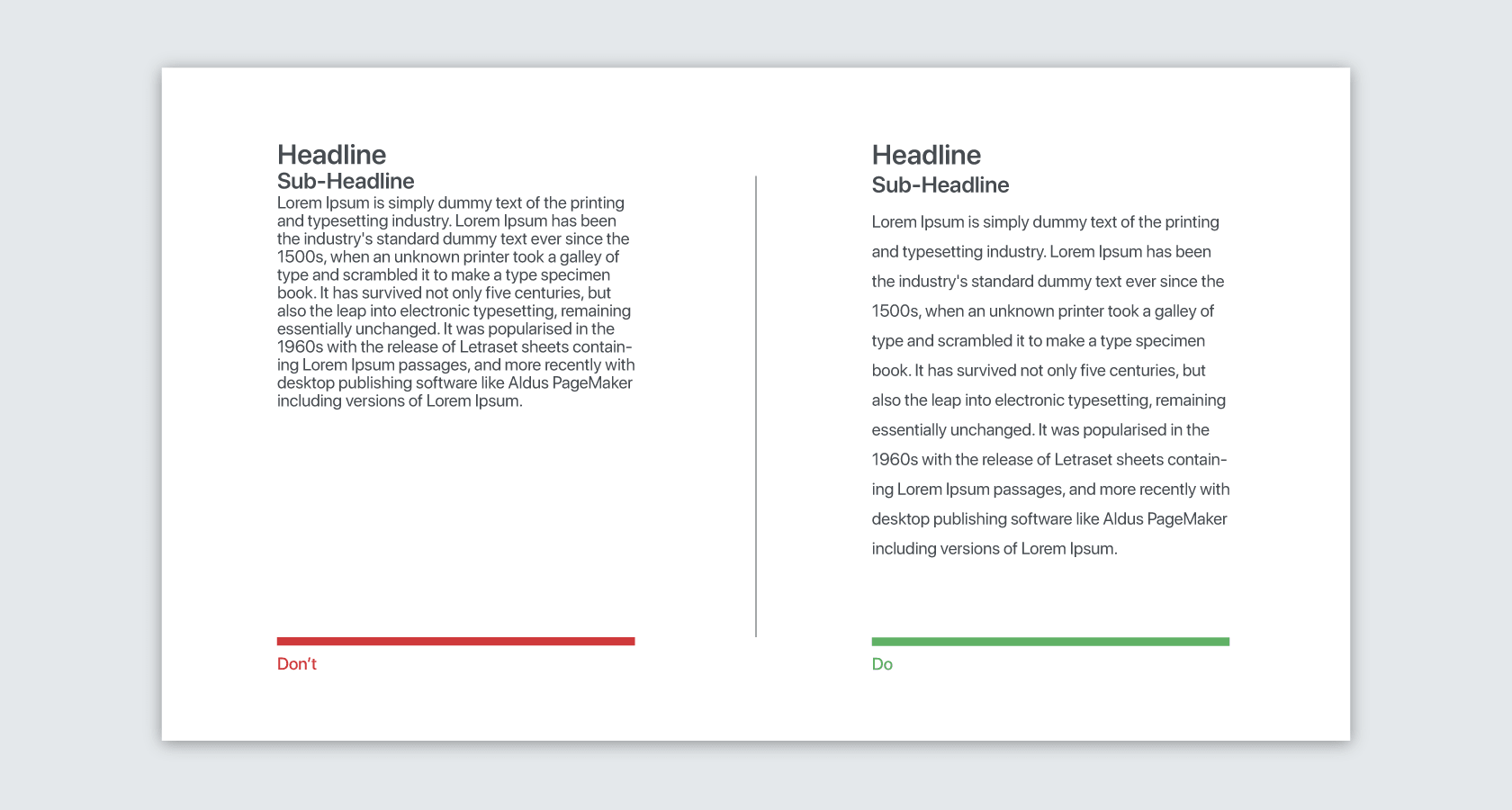 Text layouts reflect how users read on the web.